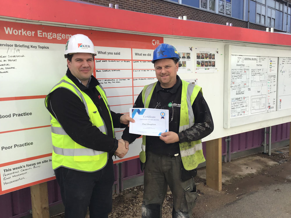 Paul Houghton of William Bailey wins Employee of the Month. Paul with Colin Lowe, Project Manager.