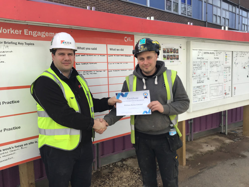 William Bailey Sub-Contractor of the Month. WB Foreman Richard Houghton with Colin Lowe, Project Manager